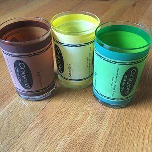 Crayola crayon vintage glass cups X3
